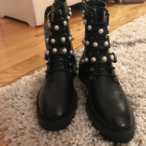 Zara Leather and Pearl Combat Boots